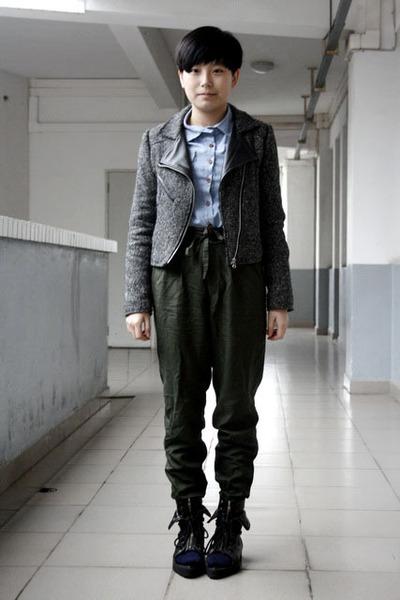 gray jacket - blue NANING9 shirt - green Uniqlo pants - blue Uniqlo socks - blac