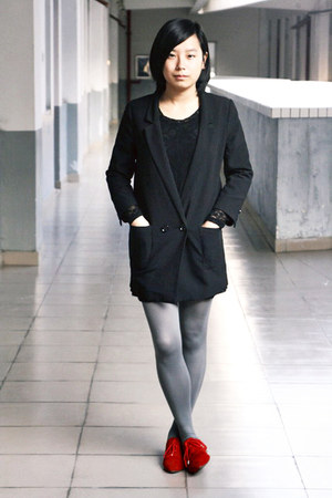 black chapel dress - black H&M blazer - heather gray H&M tights - red flats