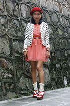 salmon dress - red bowler hat - white polka dots DIZEN blazer - white socks - ru