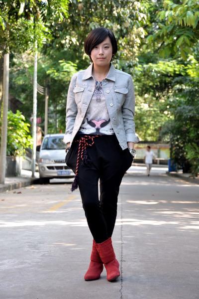 blue Mango jacket - white H&M t-shirt - blue Zara belt - orange belt - black As