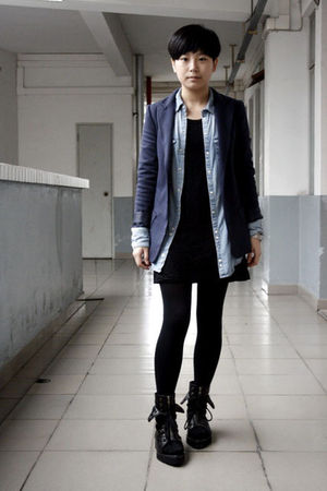 blue McQueen blazer - blue H&M shirt - black chapel dress - black tights - black