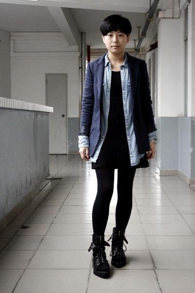 blue McQueen blazer - blue H&M shirt - black chapel dress - black tights - black