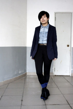 blue McQueen blazer - blue H&amp;M shirt - brown Mango belt - black pants - blue H&amp;M