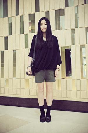 WHITE CHOCOOLATE shorts - Uniqlo socks - A-bow blouse - asos heels
