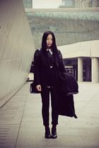 black Bata boots - charcoal gray wingfree coat - black A-bow sweater