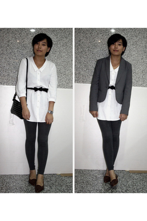 TH blazer - Giordano Concepts dress - TH belt - prezzo purse - H&amp;M leggings - sh