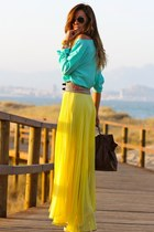 yellow skirt - sky blue blouse