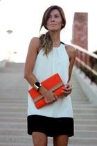 ivory dress - carrot orange bag