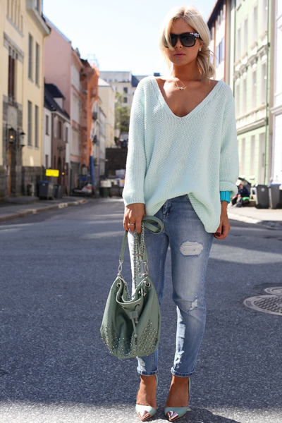 light blue sweater - teal jeans
