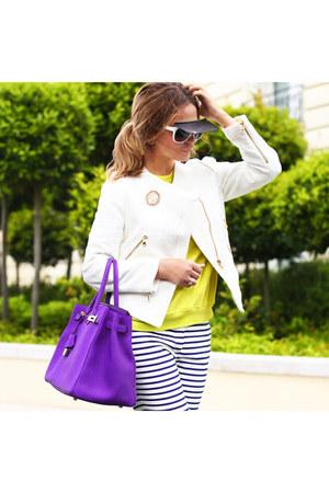 Zara jacket - Zara sweater - Hermes bag - Chanel sunglasses
