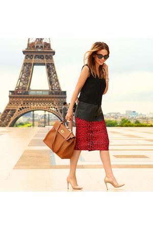 Zara heels - Hermes bag - River Island skirt - Zara top