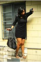 black soiree dress - black thrifted - silver Rusty Lopez shoes - black flea mark