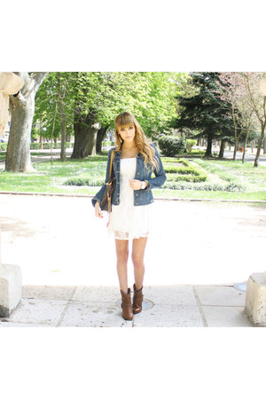 white Primark dress - brown Coolway boots - Bershka jacket