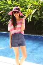 Urban Renewal shorts - Forever 21 sunglasses - stripes H&M top