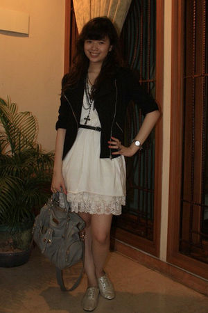black Forever 21 jacket - white Zara top - white Zara dress - silver wondershoe