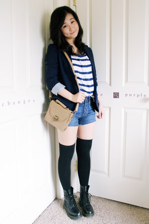 blue blue stripe H&M shirt - black doc martens boots