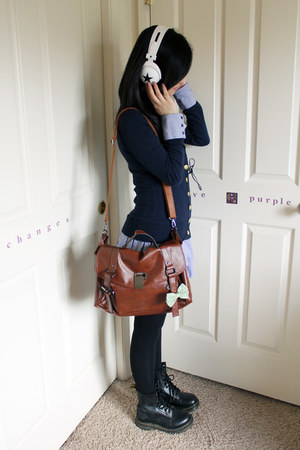 black doc martens boots - dark brown Urban Outfitters bag