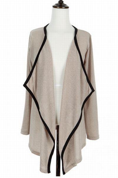 acrylic blend TISVIN Contrast-Trim Open-Front Cardigan cardigan