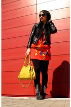 black Steve Madden boots - red Zara dress - black Zara jacket