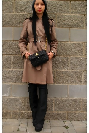 camel Stefanel coat - black Jeffery Campbell boots - black Marc Jacobs bag