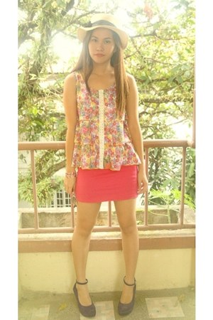 shoes - hot pink skirt - floral tiered top
