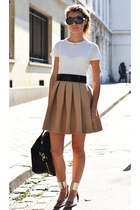 camel skirt - black bag - white t-shirt - black belt