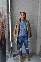 blue denim Gap jeans - brown faux fur Mango coat