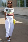 Yellow-gap-bag-white-zara-pants