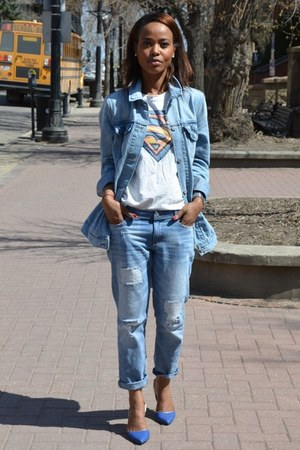 blue C Label heels - sky blue denim Levis jacket