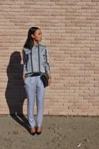 silver H&M blouse - silver Zara pants - black Christian Louboutin heels