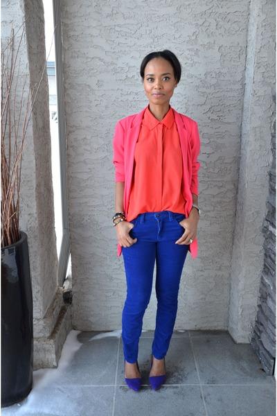 hot pink Dynamite blazer - blue joe fresh style pants