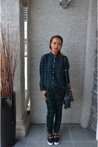 dark green cotton Tommy Hilfiger blouse - dark green corduroy Joe Fresh pants