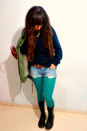 turquoise blue H&M tights - black doc martens boots - olive green coat