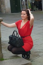 black BLANCO boots - red French Connection dress - leather Bimba & Lola bag - bl