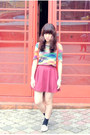 Second-hand-vintage-shirt-red-wine-color-cotton-on-skirt
