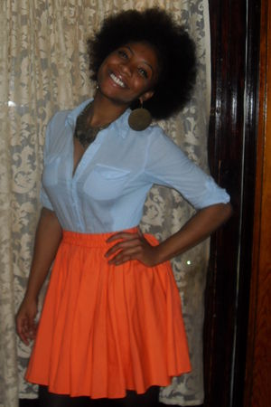 blue Forever21 shirt - orange Goodwill skirt - gold Urban Outfitters accessories