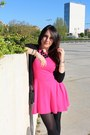 Hot-pink-zara-dress-black-springfield-cardigan-black-primark-necklace
