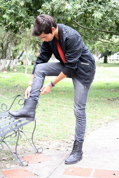 black Sevens boots - black tacks Hang Ten jacket - red Zara shirt
