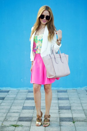 white Burlington blazer - beige JustFab bag - chartreuse Sofia Vergara top