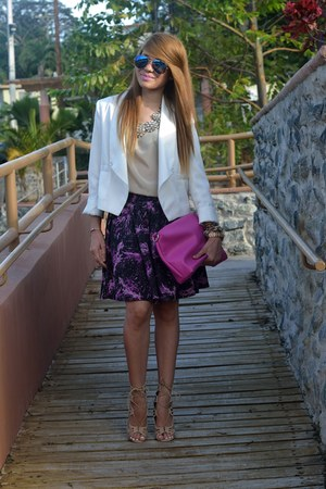 white Burlington blazer - deep purple Forever 21 skirt - tan Marshalls top