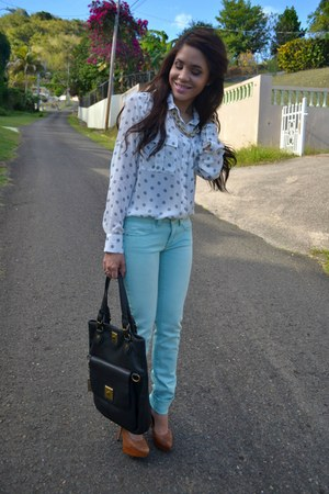 light blue mint American Eagle jeans - white polka dot Violet & Claire shirt