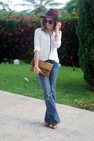 crimson Forever 21 hat - off white JCrew shirt - tawny leopard clutch Etsy bag