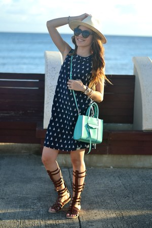 navy nautical JCrew dress - sky blue Rebecca Minkoff bag