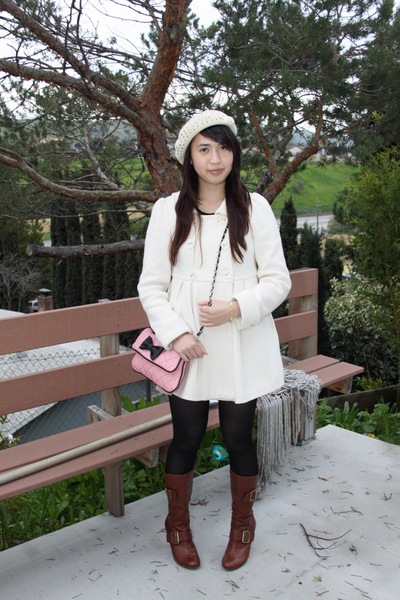 Forever 21 coat - pink Forever 21 purse - Juicy Couture hat - pink H&amp;M skirt - b
