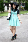 Mint-dress-black-floppy-hat-black-shirt
