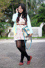 Ivory-printed-dress-black-h-m-tights-aquamarine-bag