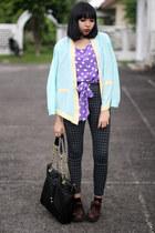 purple polka dot top - dark brown shoes - light blue chiffon blazer