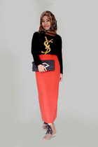 boots - tribal scarf - Chanel bag - YSL t-shirt - skirt