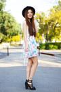 Light-blue-floral-cotton-on-dress-ivory-fringe-poof-vest