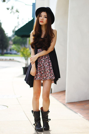 bubble gum floral Local store dress - black leather zigisoho boots